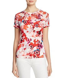 Karen Millen Floral Print Tee 100 Exclusive Red Multi