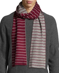 Portolano Minerva Thin Stripe Scarf Maroon Light Heather Gray