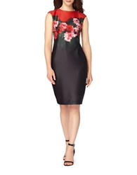Tahari By Arthur S. Levine Petite Floral Print Bodycon Dress Black Scarlet