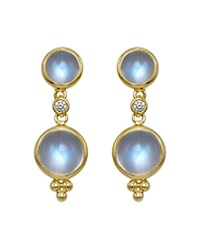 Temple St. Clair Double Drop Earrings With Royal Blue Moonstone And Diamonds In 18K Yellow Gold Blue Gold