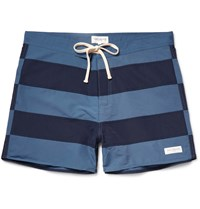 Saturdays Surf Nyc Grant Mid Length Striped Swim Shorts Blue