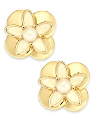 Kate Spade New York Gold Tone Faux Pearl And Enamel Flower Stud Earrings Gold Ivory
