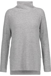 Vince Ribbed Wool And Cashmere Blend Turtleneck Sweater Light Gray