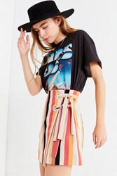 Urban Outfitters Uo Grommet Tie Striped Wrap Mini Skirt Multi