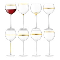 Lsa International Deco Assorted Gold Wine Glasses Set Of 8
