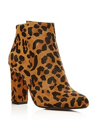 Raye Ivy Leopard Print Calf Hair High Heel Booties Dark Tan Leopard