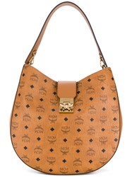 Mcm Large Patricia Hobo Bag Leather Brown
