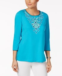 Alfred Dunner Embroidered Studded Top Turquoise