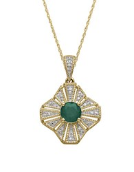 Lord And Taylor 14Kt. Yellow Gold Emerald Diamond Pendant Necklace Green