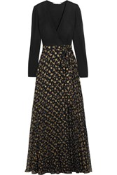 Diane Von Furstenberg Aviva Printed Fil Coupe Silk Blend And Stretch Knit Wrap Gown Black