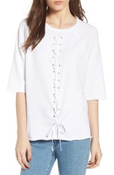 South Parade Julie Vertical Eyelets Terry Top White