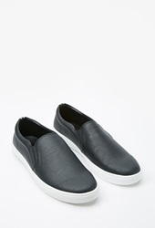 Forever 21 Faux Leather Slip Ons Black