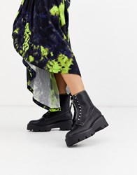 Bershka Zip And Stud Detail Chunky Sole Boots In Black