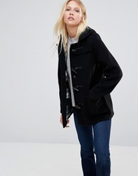 Gloverall Mid Slim Duffle Coat In Black Black