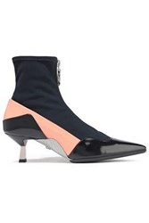Versace Woman Color Block Leather And Stretch Knit Ankle Boots Navy