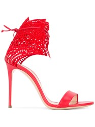 Casadei Ankle Strap Sandals Women Leather Nappa Leather Polyester 40 Red