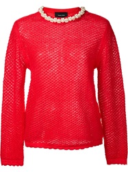 Simone Rocha Pearl Embellished Collar Sweater Red