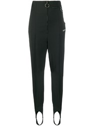 Off White Zip Front Slim Fit Trousers Black