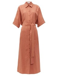 Raey Dolman Sleeve Silk Blend Shirtdress Bronze
