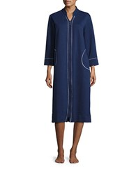 Carole Hochman Plus Diamond Shimmer Zip Robe Navy