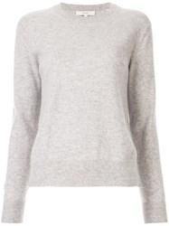Vince Long Sleeve Fitted Sweater Grey