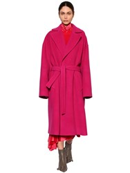 Balenciaga Belted Cloth Wrap Coat Fuchsia