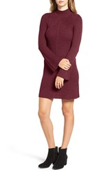 Sequin Hearts Women's Bell Sleeve Knit Sweater Dress Merlot