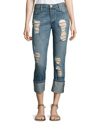 True Religion Liv Low Rise Distressed Cuffed Skinny Jeans