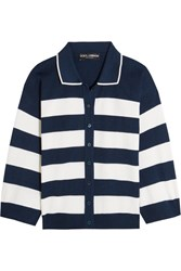 Dolce And Gabbana Striped Silk Jersey Cardigan Navy