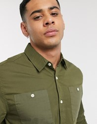 Topman Long Sleeve Shirt With Pockets In Green