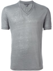 John Varvatos V Neck T Shirt Grey