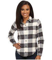 Pendleton Felicia Flannel Shirt Charcoal Heather Ivory Heather Plaid Women's Long Sleeve Button Up Multi