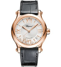 Chopard Happy Sport Medium Automatic 18Ct Rose Gold Diamond And Alligator Leather Watch