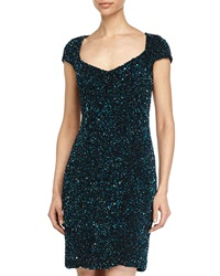 Theia Sequined V Neck Cap Sleeve Cocktail Dress Midnight