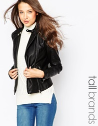 New Look Tall Leather Look Biker Jacket Black
