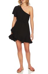 1.State One Shoulder Fit And Flare Dress Rich Black