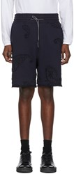 Wooyoungmi Navy Paisley Embroidery Lounge Shorts