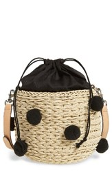 Rebecca Minkoff Straw Pom Pom Bucket Bag Beige Natural