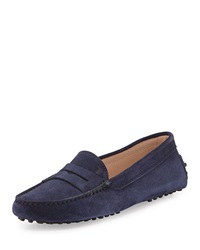 Tod's Gommini Suede Moccasin Navy