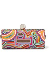 Emilio Pucci Printed Textured Leather Clutch Pink