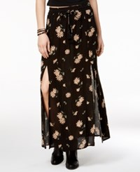 American Rag Printed Double Slit Maxi Skirt Only At Macy's Black Floral