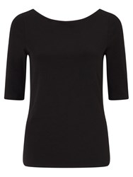 Jigsaw Double Front Ballet Neck Tee Black