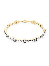 Freida Rothman Classic Cubic Zirconia And 14K Gold Plated Sterling Silver Stack Bangle