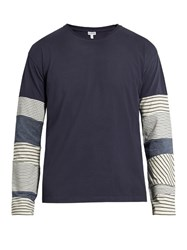 Loewe Contrast Sleeve Cotton Jersey T Shirt Blue Multi