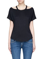 Rag And Bone Cutout Shoulder Short Sleeve Top Black