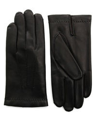 Agnelle Black Smooth Leather Gloves