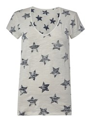 Oui Star Print T Shirt White And Navy White And Navy