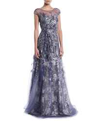 Rene Ruiz Brocade Cap Sleeve Illusion Gown Silver