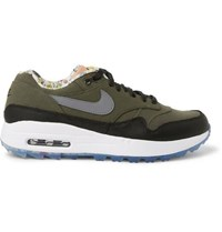 Nike Golf Enemies Of The Course Air Max 1 Nrg Leather Trimmed Canvas Golf Shoes Green