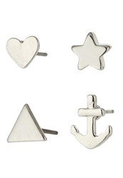 Only Onlrebecca 4 Pack Earrings Silver Colour